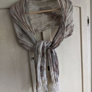 Wrap/scarf in sand, gray and ivory colors